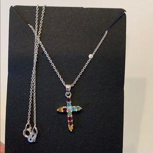 Jewelry - 💐5/25 Dainty cross silver tone 18 inch necklace